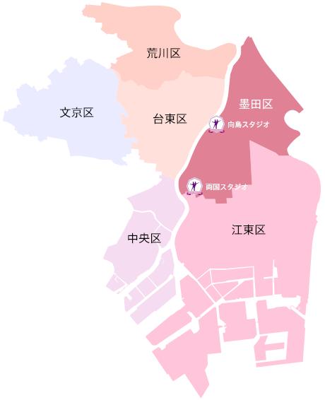 墨田区・江東区・台東区・中央区・荒川区・文京区地図